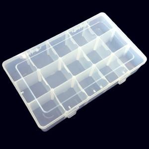 ラウンドケース15格、クリアケース15格、仕切り板が外せる収納箱