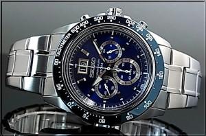 SEIKO/セイコー【LORD/ロード】クロノグラフ メンズ腕時計 メタルベルト ネイビー文字盤 海外モデル SPC235P1