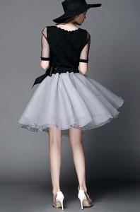パーティードレス結婚式お呼ばれセットアップ五分袖トップス×フレアスカートのツーピース大きいサイズ有[S/M/L/2L][黒×グレー]