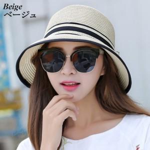 帽子 麦わら 麦わら帽子 ハット レディース リボン 紫外線対策 リボンハット 紫外線