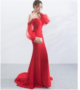新品 ウェディングドレス 高品質 ロングドレス マーメイドライン 演奏会 パーティードレス トレーン 結婚式 花嫁 ピアノ ファスナー