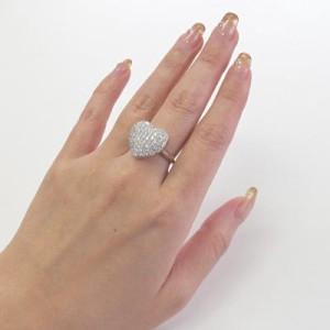 パヴェ ダイヤモンド リング ダイヤリング ハート プラチナ900 pt900 1.00ct 指輪 贅沢【送料無料】