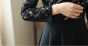 大人気 長袖レースワンピース セクシー Aライン ミニワンピ レディース 着痩せ OL通勤 結婚式 パーティー スプライス ハイウエスト