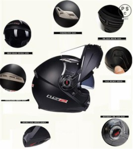 システムヘルメット フリップアップヘルメット バイクヘルメット フルフェイスヘルメット ダブルシールド PSC付き【送料無料】LS2-370