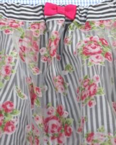 エニィ ファム anyFAM スカート チュール ストライプ 150cm 新品 白/黒 女の子 ジュニア 子供服 150G70849