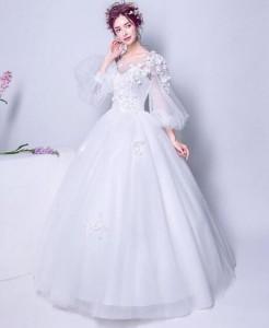 豪華なウェディングドレス 可愛いパーティードレス  二次会 結婚式 司会者 花嫁 写真撮影 演奏会 ホワイト オフショルダー