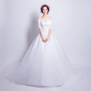 パーティードレス 結婚式 ワンピース 大きいサイズ ブライダルドレス 五分袖 トレーン ロングドレス 編み上げ 秋冬
