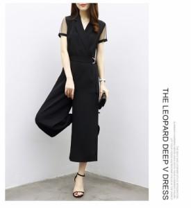 エレガント上品さ オールインワン2点セット スカーチョパンツドレス 透かし彫りオールインワン 通勤 結婚式 二次会 お呼ばれ
