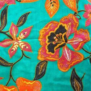 ノースリーブ チュニック キャミソールワンピース グリーン花柄 アジアン雑貨 タイ雑貨