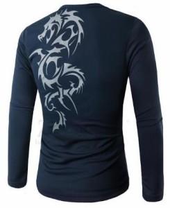メンズ 長袖 tシャツ 通勤 プルオーバー 修身Tシャツ インナーウェア お兄系 タトゥー柄 男性カジュアル ランニングシャツ ジム T-shirt