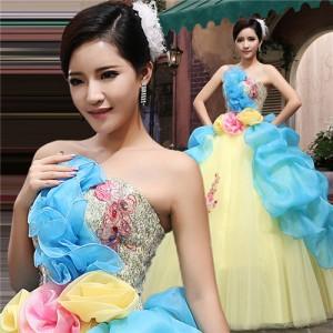 イエロー パーティードレス ウェディングドレス 発表会 演奏会用ドレス プリンセスライン ステージ衣装・二次会・花嫁衣裳にも♪