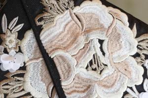 刺繍 ブラック バッグ パーティー バック パーティーバッグ 結婚式 手作り 演奏会 二次会 披露宴 ドレスバック フォーマル