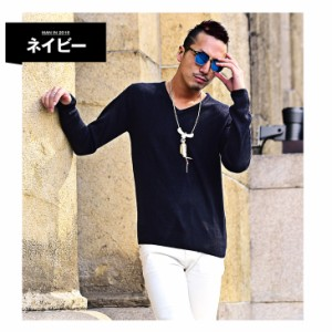 ◆2枚目半額◆ニット メンズ セーター Vネック ニットソー 長袖 カシミアタッチ カシミア 春服 セール 定番 無地 mf_min trend_d