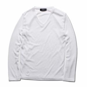 DOWBL/ダブル/ワンポイントロゴVネックサマーセーター【全3色】【5/13】