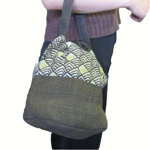 バッグ 草木染めバッグ/巾着/きんちゃく 楽布 rakuhu 天然素材