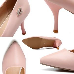 大きいサイズ 靴 レディース 25.5cm/通勤 婦人靴/走れるパンプスポインテッドトゥ 入学式 シューズ/ピンヒール ストラップ付きパンプス