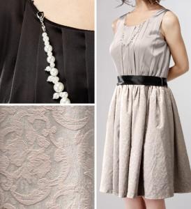 【アウトレット】パールアクセ付き ゴブラン織りスカート ノースリーブ ワンピースドレス