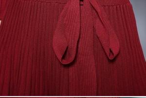 fe77059b3d6c7 カシュクール 七分袖 プリーツ フレア ニット ワンピース ミディアム V ...