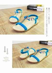 ポヘミア風 花柄 カラフルビジューデザイン サンダル ローヒール 4色 靴 19sh3395