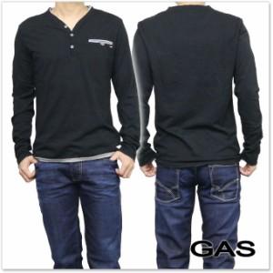 【セール 35%OFF!】GAS JEANS ガスジーンズ メンズヘンリーネックロングTシャツ HUGO/S CH / 300157 182441 ブラック