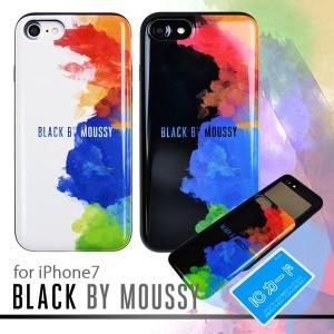 iPhone8 iPhone7 BLACK BY MOUSSY ブラックバイマウジー シェルケース スプレー ブランド IC カード収納