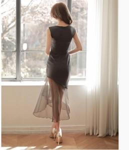 大人のスタイルVネックノースリーブ切り替えワンピース披露宴 二次会 気質よいOL通勤 気質ドレス