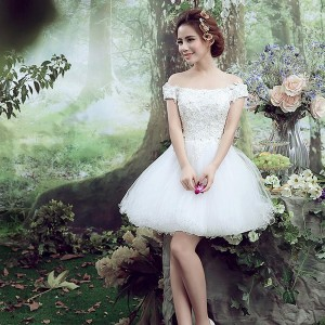 ミニドレス 白 安い ウエディングミニドレス 結婚式 発表会 披露宴 パーティドレス 二次会 ウェディング