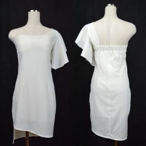 キャバドレス 77W 白 ホワイト ワンショルダー フレアスリーブ ミニ ドレス ミニワンピ ナイト パーティー セクシー 送料無料