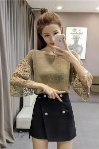 ステッチレース トランペットの袖 氷のシルク ニット シャツ チェーンリンク フェンス 薄いセーター コート  新しい韓国版