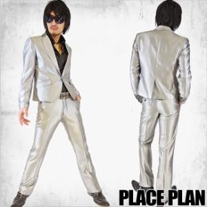 【送料無料】 【Place plan】ショート丈スリットシャンブレースーツ■シルバー【113S8477】【AC】
