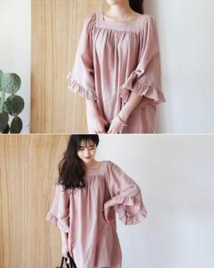 ワンピース ドレス ゆったり 棉亜麻 黒 白 ピンク 大きいサイズ 後ろリボンつき