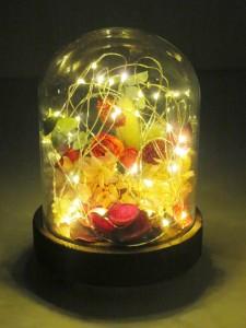 ドライフラワー ポプリ プリザーブドフラワー フローラルボタニカルLEDドーム ローズ インテリア LEDライト