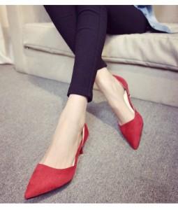 女性靴 レディース パンプス ローヒール ピンヒール スエード ファッション 通勤 脚長効果 バンド