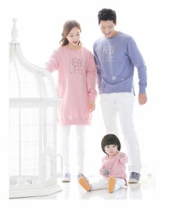 メール便送料無料 親子 お揃い ペアルック 家族旅行 秋 ピンク パパ ママ キッズ 子供 可愛い 着心地 綿 プルオーバー 長袖