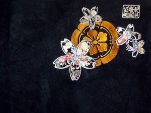 絡繰魂 カラクリ魂 和柄  半袖パーカー・ハーフパンツ上下セット 家紋桜刺繍 KARAKURI