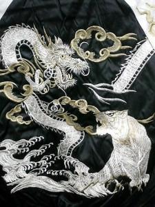 スカジャン つづき龍虎 日本製本格刺繍