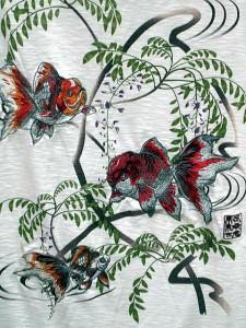 カラクリ 和柄半袖Tシャツ 金魚刺繍 KARAKURI