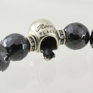 c4e6f2f8efdc45 天然石 128面カットヘマタイト スカル ストーンブレスレット 17cm 数珠ブレス シルバー925 ブランド Roen BLACK ロエン ブラック