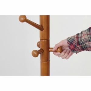 木製ポールハンガー 回転式 ウッドハンガー 天然木 組立式 インテリア 送料無料