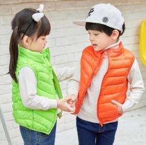 キッズベスト 中綿入りベスト子供男の子韓流 トップス 女の子 キャラー色 ユニクス 防寒 中綿ベスト アウター 9色