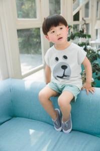 送料無料 韓国子供服 半袖 Tシャツ トップス プリントくまさん 男の子 キッズ 春 夏 シンプル ホワイト ピンク 90cm 100cm 110cm 120cm