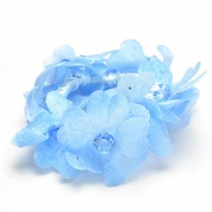 フラワー 水中花タイプ ブルーカラー ブレス 可愛い フワフワ h-bl345