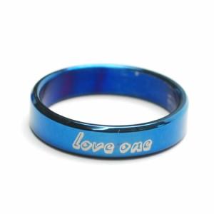 Love one ブルー ステンレス メッセージ リング レディース メンズ 指輪 アクセサリー f-er970