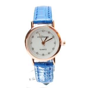 腕時計 電池式クォーツ ブルー皮ベルト 動物系デザイン サークル盤面 ゴールド シンプル レディス f-kt76