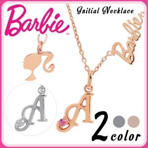 《Barbie》国内生産イニシャル&バービーロゴ・シルエット ダイヤモンド,ピンクトルマリン  選べる2カラーシルバーネックレス/10月誕生石