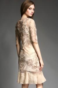 高品質結婚式ドレス上品ワンピース贅沢花柄刺繍パーティードレス裾プリーツ大きいサイズ有[S/M/L/2L/3L/4L][グレー/ベージュ/ネイビー]