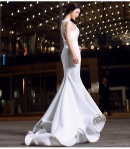 人気新品 上品 マーメイドライン トレーン ロングドレス フェミニン パーティードレス エレガント ピアノ  演奏会 結婚式 ファスナー