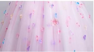 新作 上品 花飾り 素敵 ロングドレス トレンド パーティードレス エレガント チュールスカート 花嫁 披露宴 ウエディングドレス 編み上げ