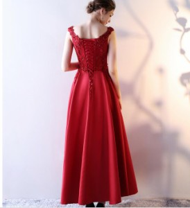 新品 上品 フェミニン ロングドレス エレガント イブニングドレス ウェディング  パーティードレス 発表会 結婚式 司会 レッド 編み上げ