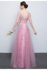 大人気  プリンセスレースパーティードレスロングドレスエレガント結婚式 ピアノ 発表会  二次会 フォーマルドレスファスナーフェミニン